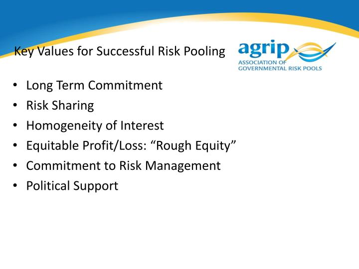 Key Values for Successful Risk Pooling