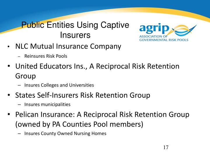 Public Entities Using Captive Insurers