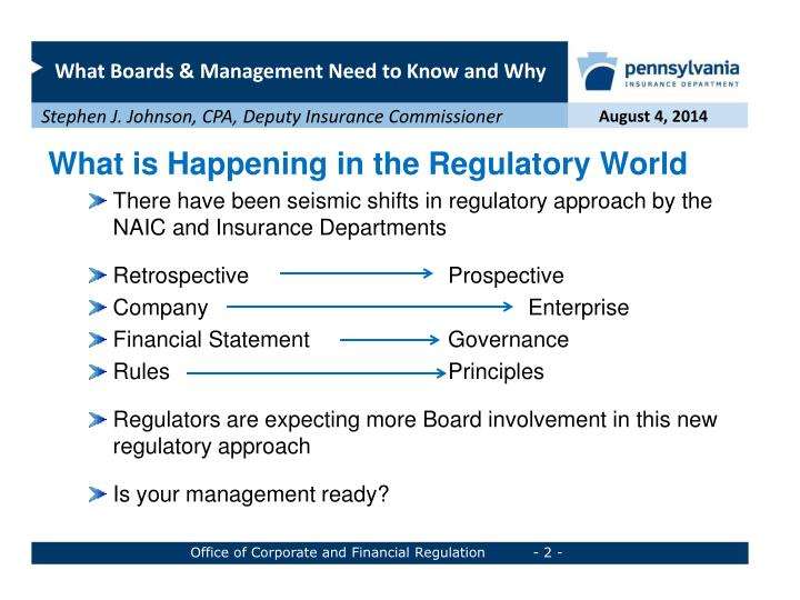 What is Happening in the Regulatory World