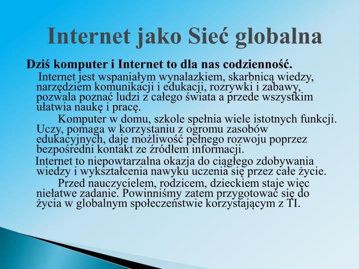 Internet jako Sieć globalna