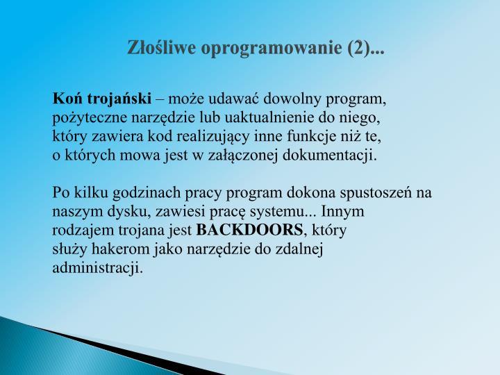 Złośliwe oprogramowanie (2)...