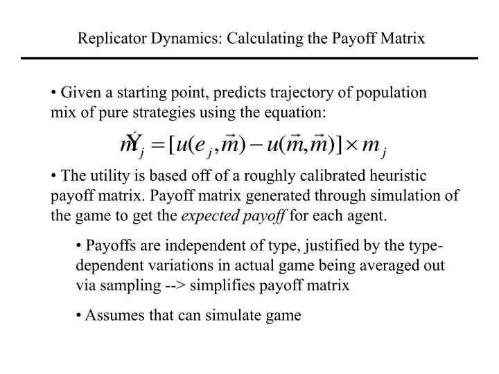 Replicator Dynamics: Calculating the Payoff Matrix