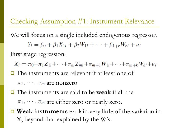 Checking Assumption #1: Instrument Relevance