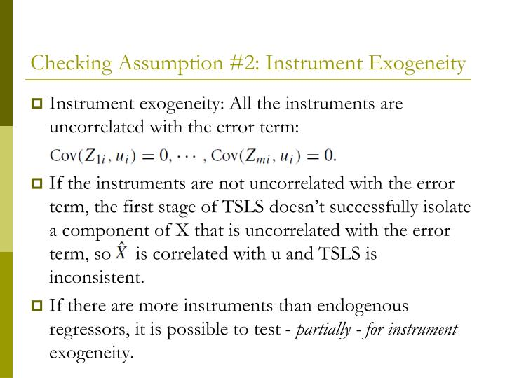 Checking Assumption #2: Instrument Exogeneity