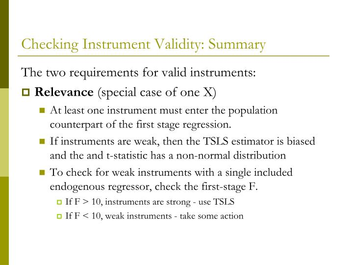 Checking Instrument Validity: Summary