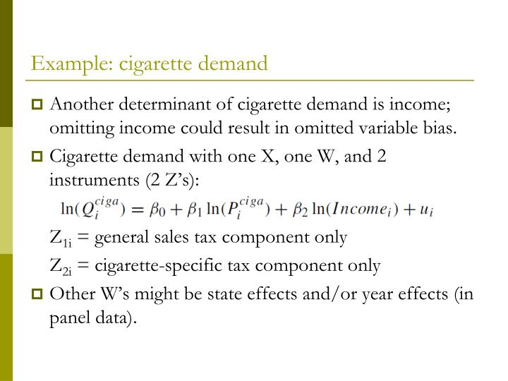 Example: cigarette demand