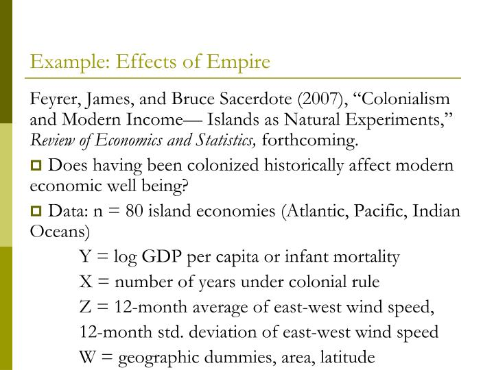 Example: Effects of Empire