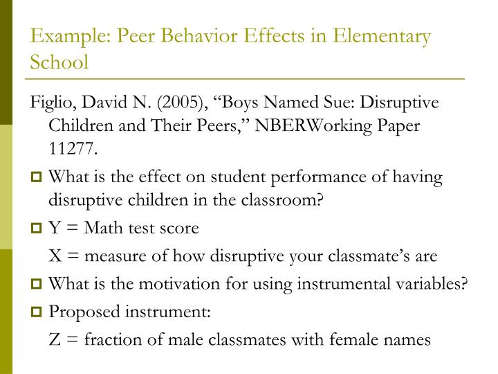 Example: Peer Behavior Effects in Elementary School