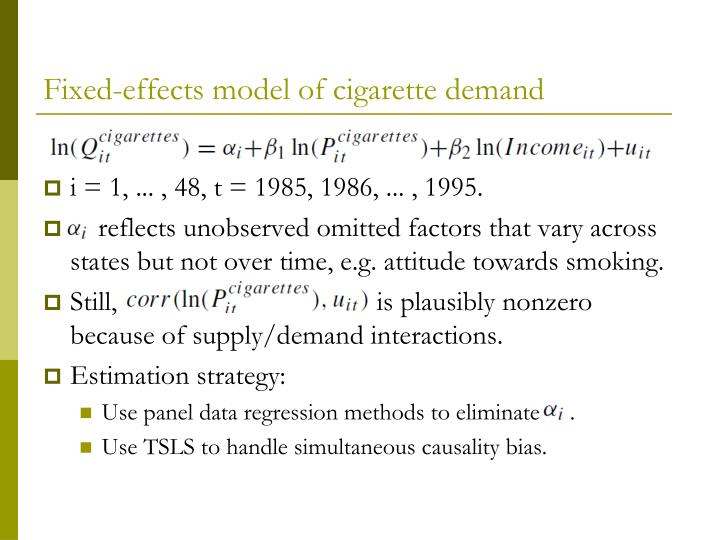 Fixed-effects model of cigarette demand