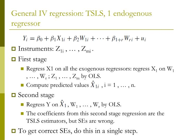 General IV regression: TSLS, 1 endogenous regressor