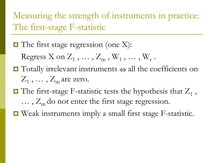 Measuring the strength of instruments in practice: The first-stage F-statistic