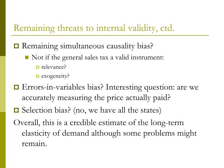 Remaining threats to internal validity, ctd.