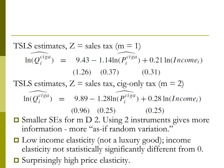 TSLS estimates, Z = sales tax (m = 1)