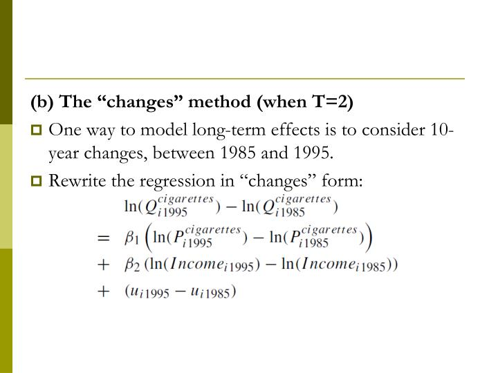 "(b) The ""changes"" method (when T=2)"