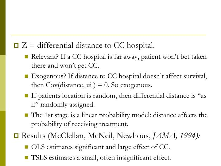 Z = differential distance to CC hospital.