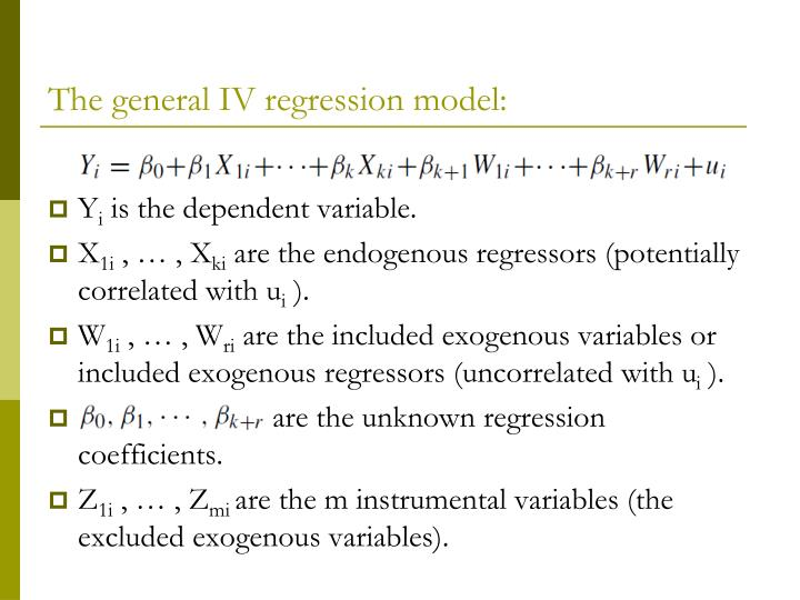 The general IV regression model: