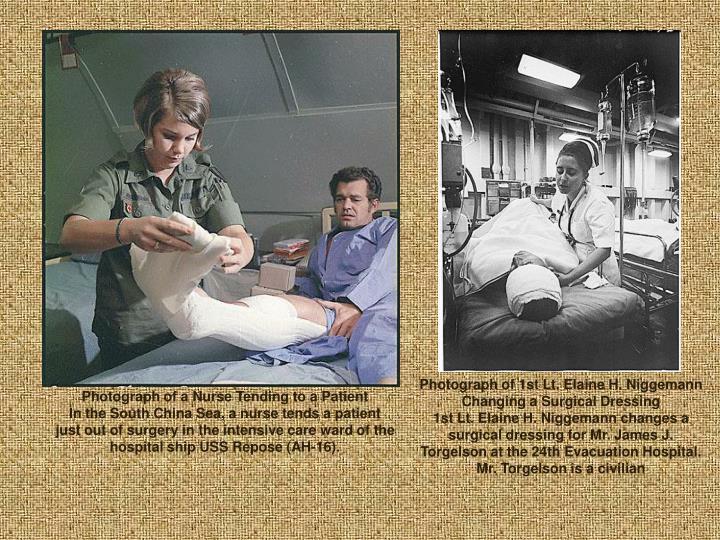 Photograph of 1st Lt. Elaine H. Niggemann Changing a Surgical Dressing