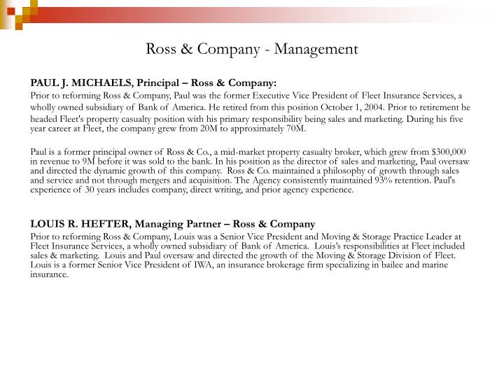 Ross & Company - Management