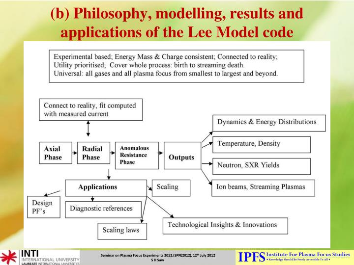 (b) Philosophy, modelling, results and applications of the Lee Model code