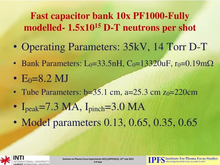 Fast capacitor bank 10x PF1000-Fully