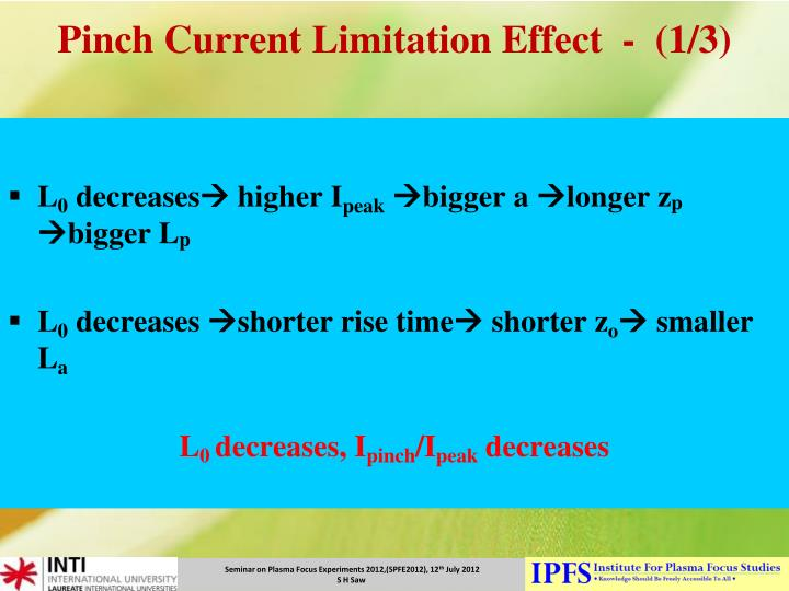 Pinch Current Limitation Effect  -  (1/3)