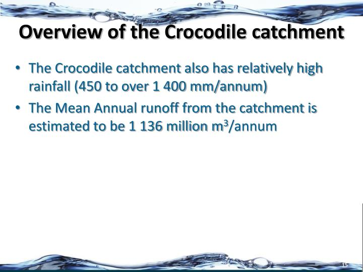 Overview of the Crocodile catchment
