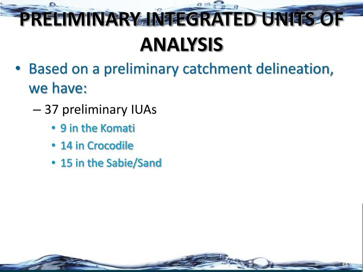 PRELIMINARY INTEGRATED UNITS OF ANALYSIS