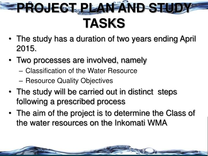 PROJECT PLAN AND STUDY TASKS