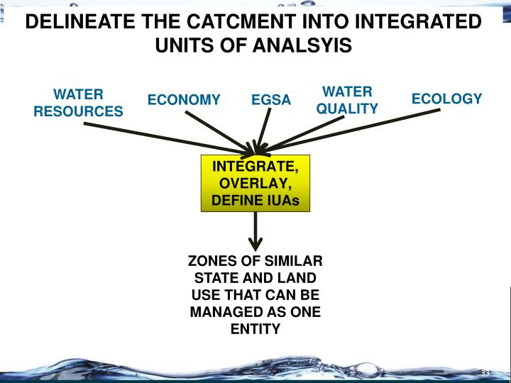 DELINEATE THE CATCMENT INTO INTEGRATED UNITS OF ANALSYIS
