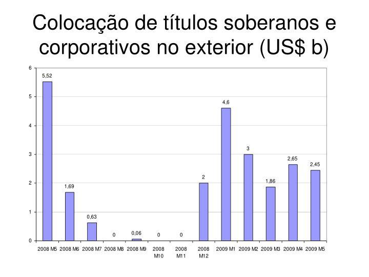 Colocação de títulos soberanos e corporativos no exterior (US$ b)