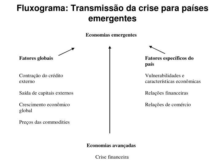 Fluxograma: Transmissão da crise para países emergentes