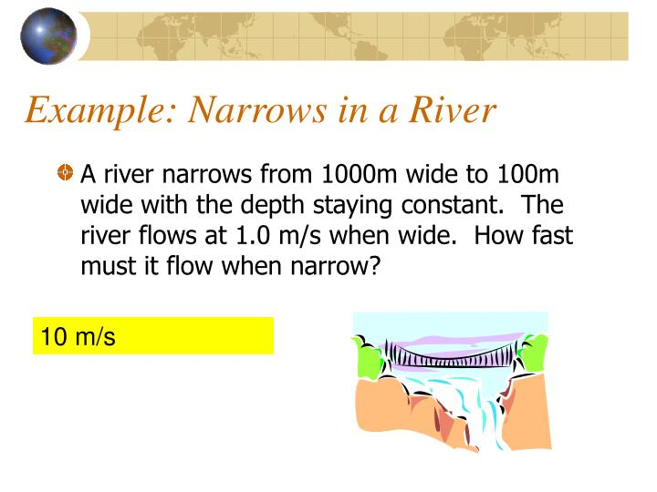 Example: Narrows in a River