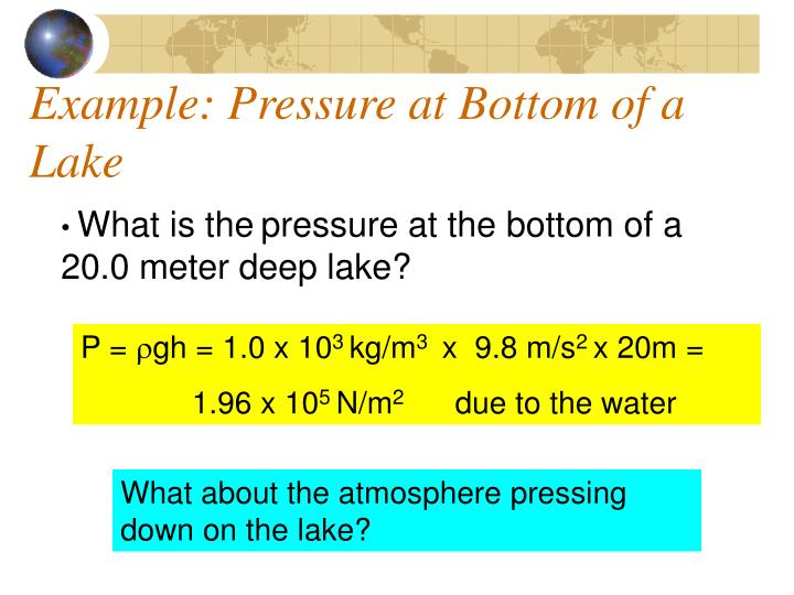 Example: Pressure at Bottom of a Lake
