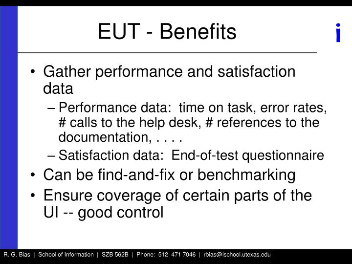 EUT - Benefits