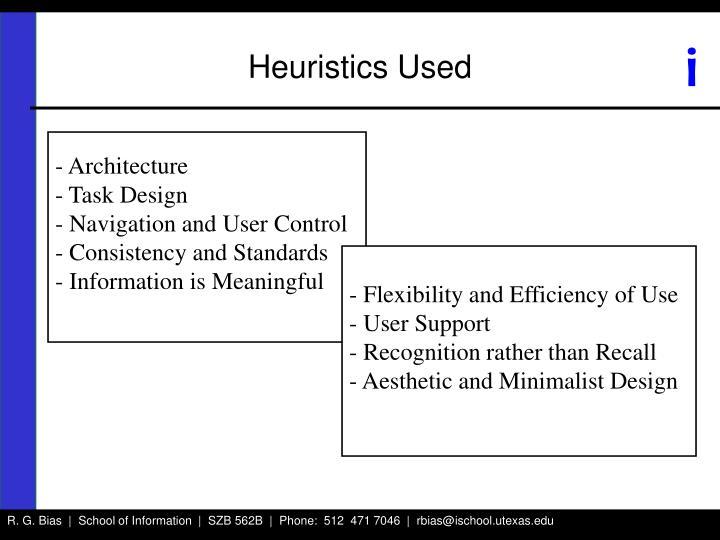 Heuristics Used