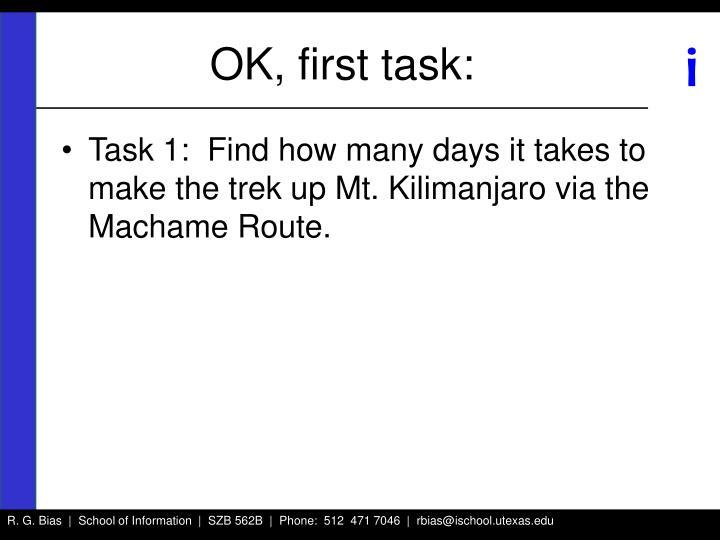 OK, first task: