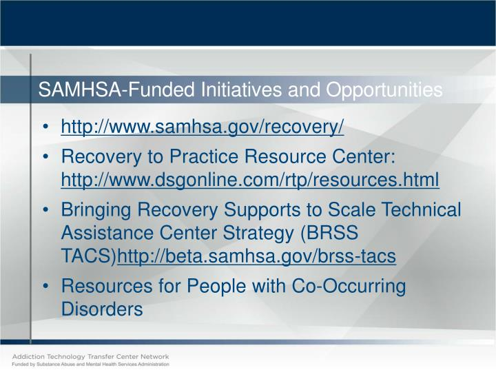 SAMHSA-Funded Initiatives and Opportunities