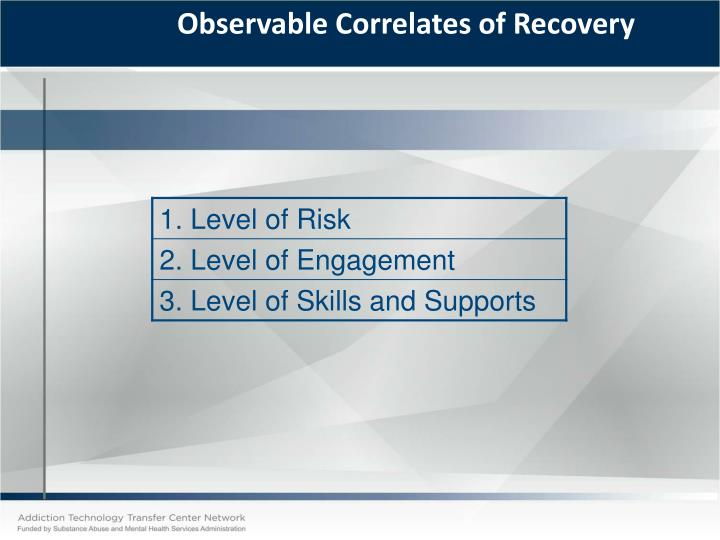Observable Correlates of Recovery