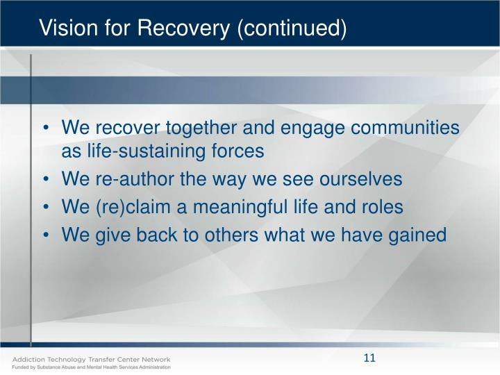 Vision for Recovery (continued)