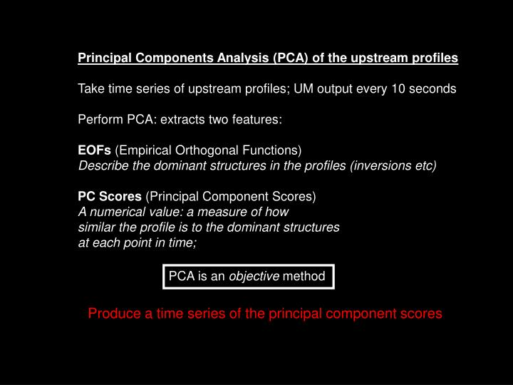 Principal Components Analysis (PCA) of the upstream profiles