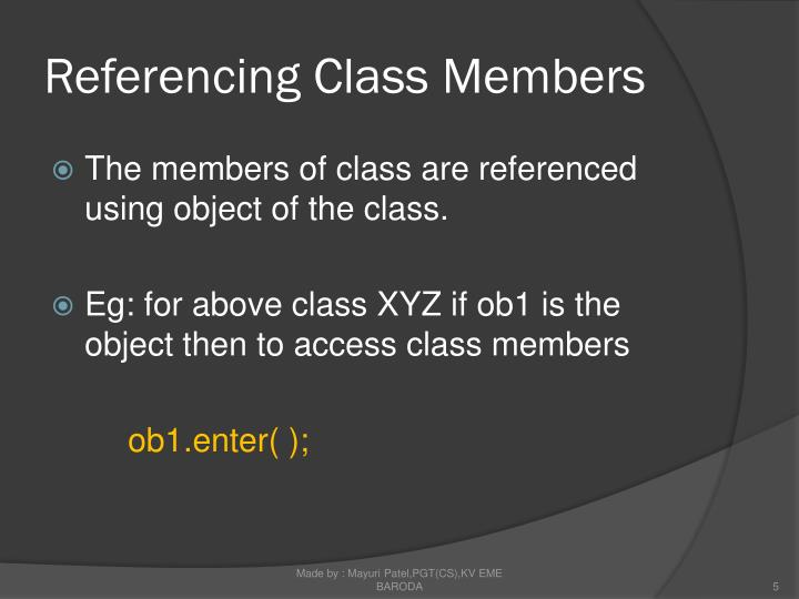 Referencing Class Members