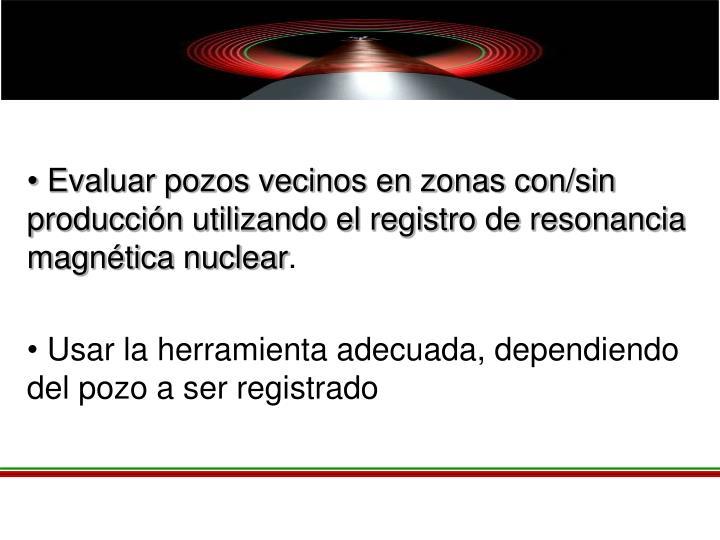 Evaluar pozos vecinos en zonas con/sin producción utilizando el registro de resonancia magnética nuclear