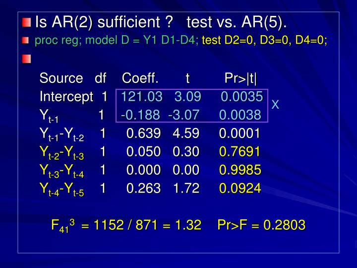 Is AR(2) sufficient ?   test vs. AR(5).