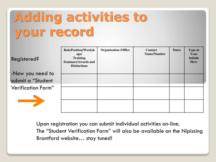 Adding activities to                  your record
