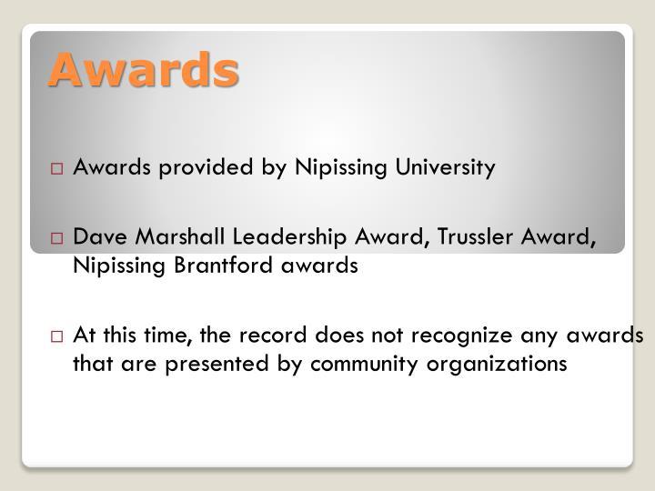 Awards provided by Nipissing University