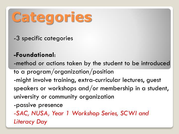 -3 specific categories