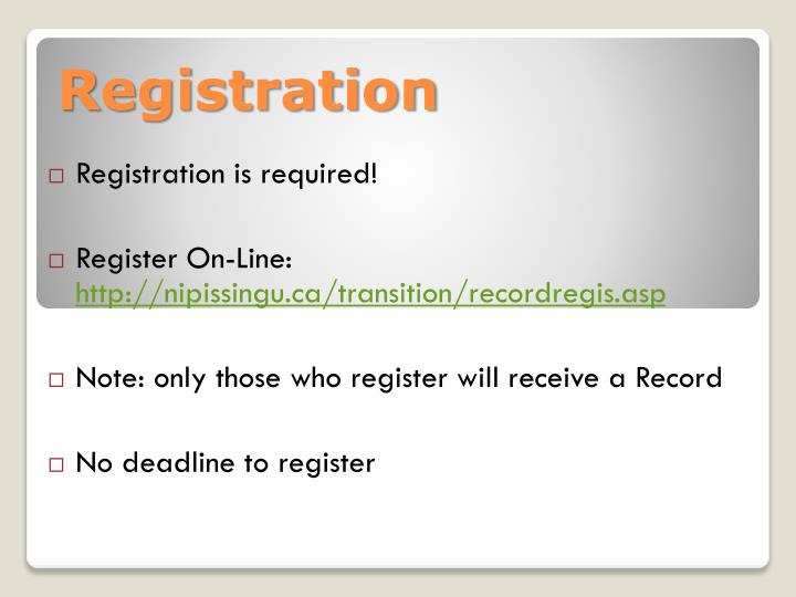 Registration is required!