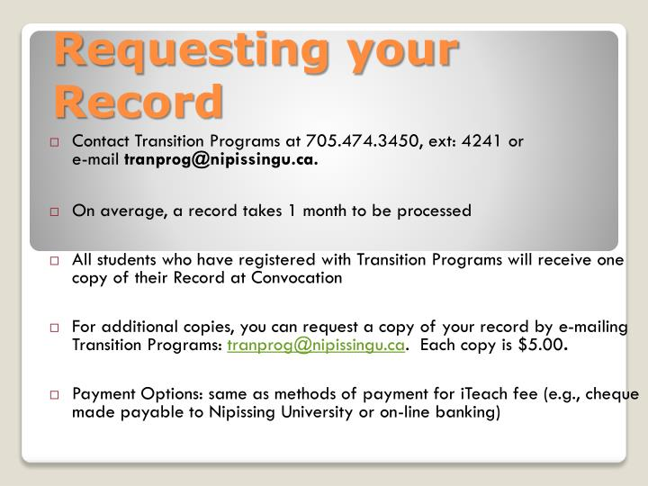 Requesting your Record