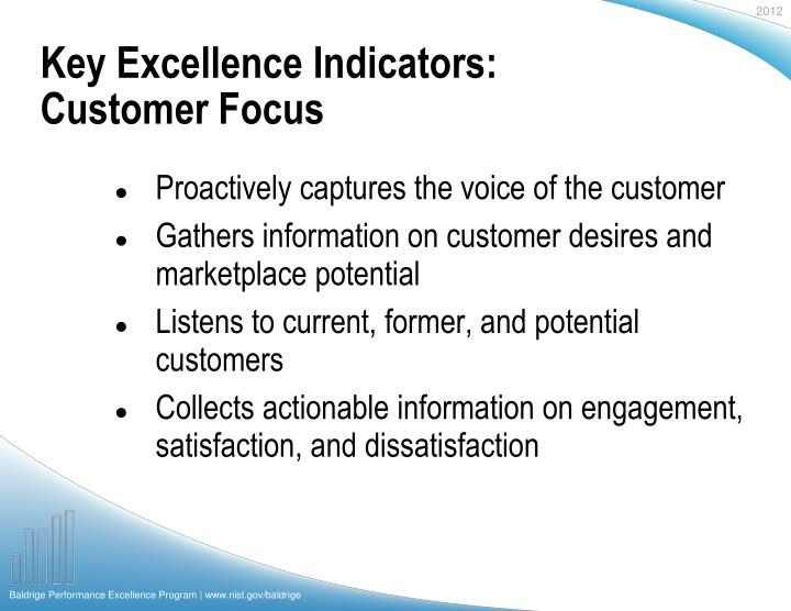 Key Excellence Indicators: Customer Focus