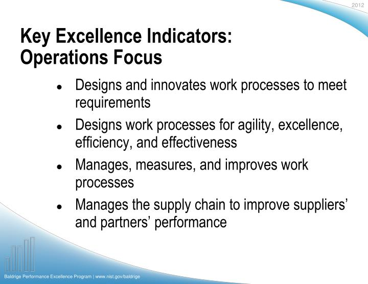 Key Excellence Indicators: Operations Focus
